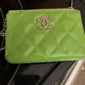 Authentic Chanel lime green coin holder w/keyring